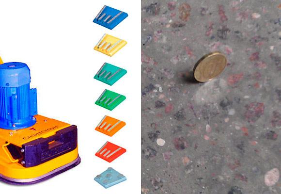 Технология шлифовки и полировки бетонного пола с помощью мозаично-шлифованой машины GM 245 и алмазного инструмента производства компании «Адель»