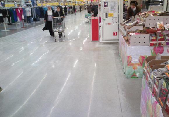 Реставрация полов в киевском супермаркете «Ашан Беличи»