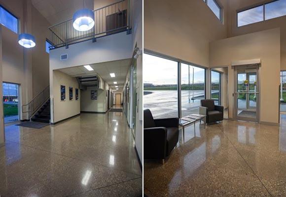 Полированный бетонный пол в офисном помещении компании Doublestar Drilling